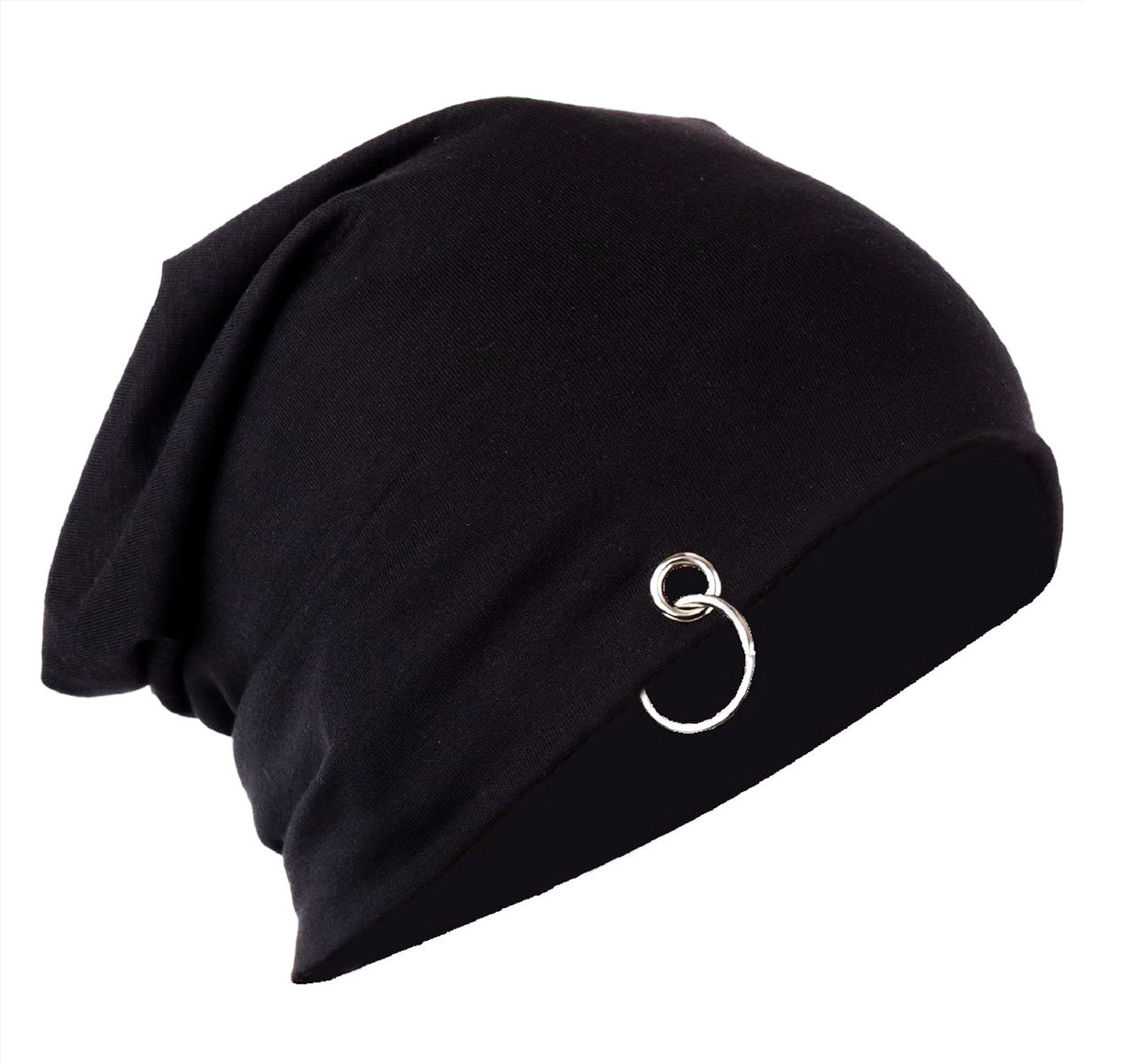 a7a903f3268 Buy Zainmark Beanie Skull Cap with Ring - Slouchy style Stretchable cotton  Free size for men and women (Black) Online at Low Prices in India -  Amazon.in