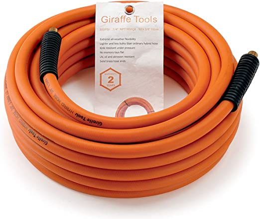 """Air Compressor Hose 50 ft 3//8/"""" 1//4/"""" MNPT inch PVC Pneumatic Pipe Fittings 300PSI"""