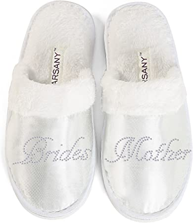 Wedding Bride Bridesmaid  Hen Party Slippers Glitter Black /& Diamante