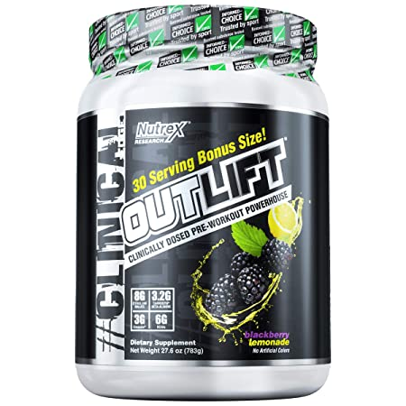 Nutrex Research Outlift Bonus Size Clinically Dosed Pre-Workout Powerhouse, Citrulline, BCAA, Creatine, Beta-Alanine, Taurine, 0 Banned Substances BlackBerry Lemonade 30 Servings