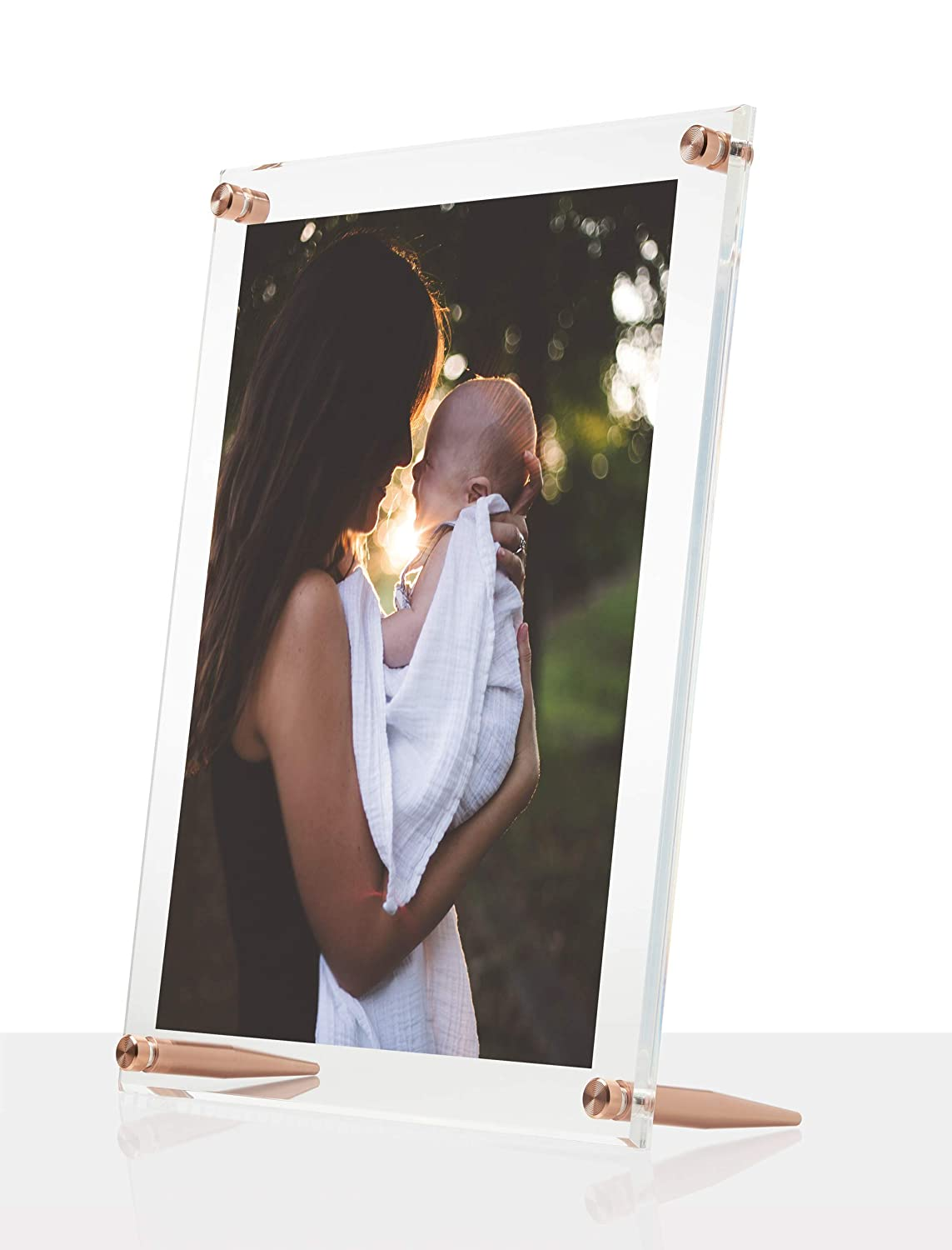 Wexel Art 10x12-Inch Diamond Polished Beveled Edge Framing Grade Acrylic Tabletop Floating Frame with Silver Hardware for 8x10-Inch Art /& Photos TBL1012S