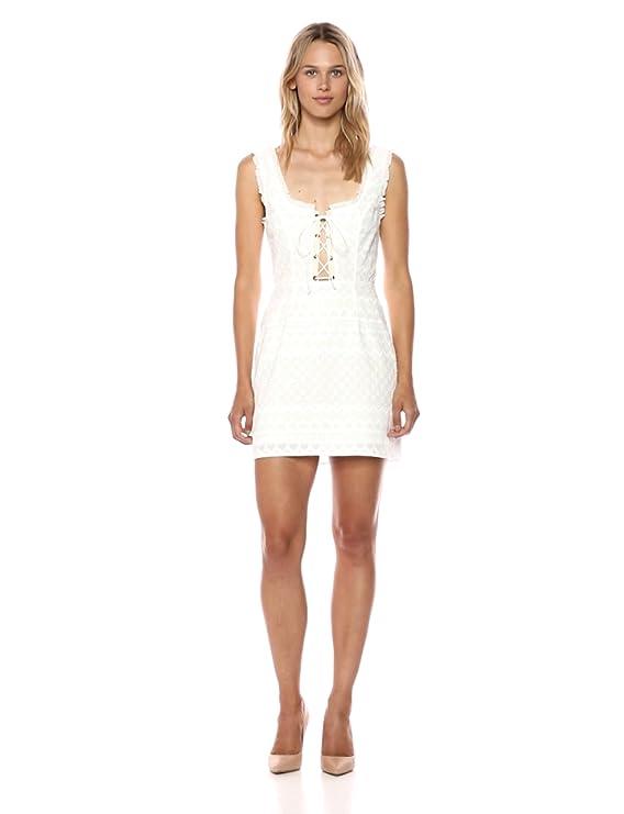 154a9785457 Amazon.com  For Love   Lemons Women s Charlotte Eyelet Lace Up Mini Dress   Clothing