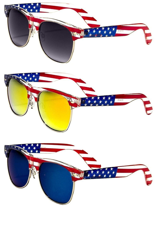 72b0cf368c Amazon.com  Classic American Patriot Flag Sunglasses USA Half Rim (all 3  pairs)  Clothing