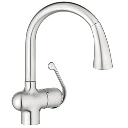Grohe 33755SD1 Ladylux Cafe Single Handle Pull Down Kitchen Faucet,  RealSteel