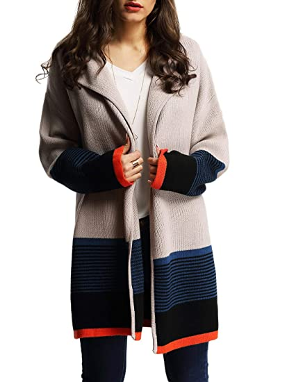 Floerns Women s Loose Causal Long Sleeve Open Front Color Block Cardigan  Multi One Size at Amazon Women s Clothing store  c00ff49cd