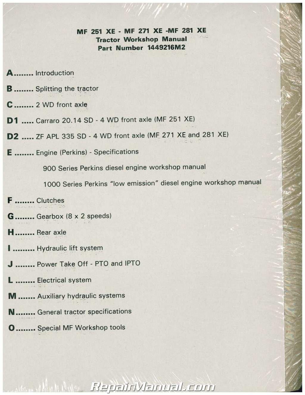JS-MH-S-MF251XE-PLUS Massey Ferguson 251XE 271XE 281XE
