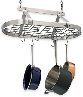 product image for Handcrafted Oval Hanging Pot Rack w 12 Hooks Stainless Steel