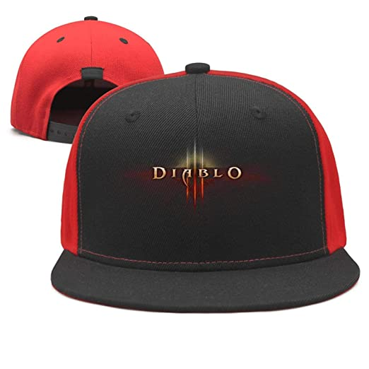 e5c63842083 Diablo-3-Logo- Flat Bill Adjustable Hat Snap Snapback Cap Men   Women Hip-Hop  at Amazon Men s Clothing store
