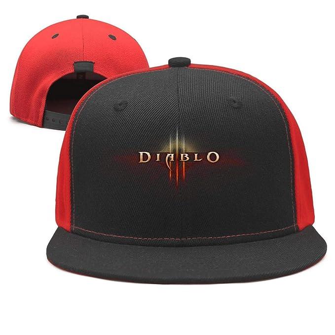 d73f830b84aad Diablo-3-Logo- Flat Bill Adjustable Hat Snap Snapback Cap Men   Women  Hip-Hop at Amazon Men s Clothing store