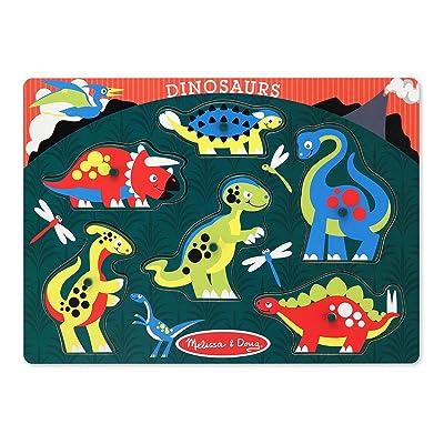 Melissa & Doug Dinosaurs Wooden Peg Puzzle (6 pcs): Melissa & Doug: Toys & Games