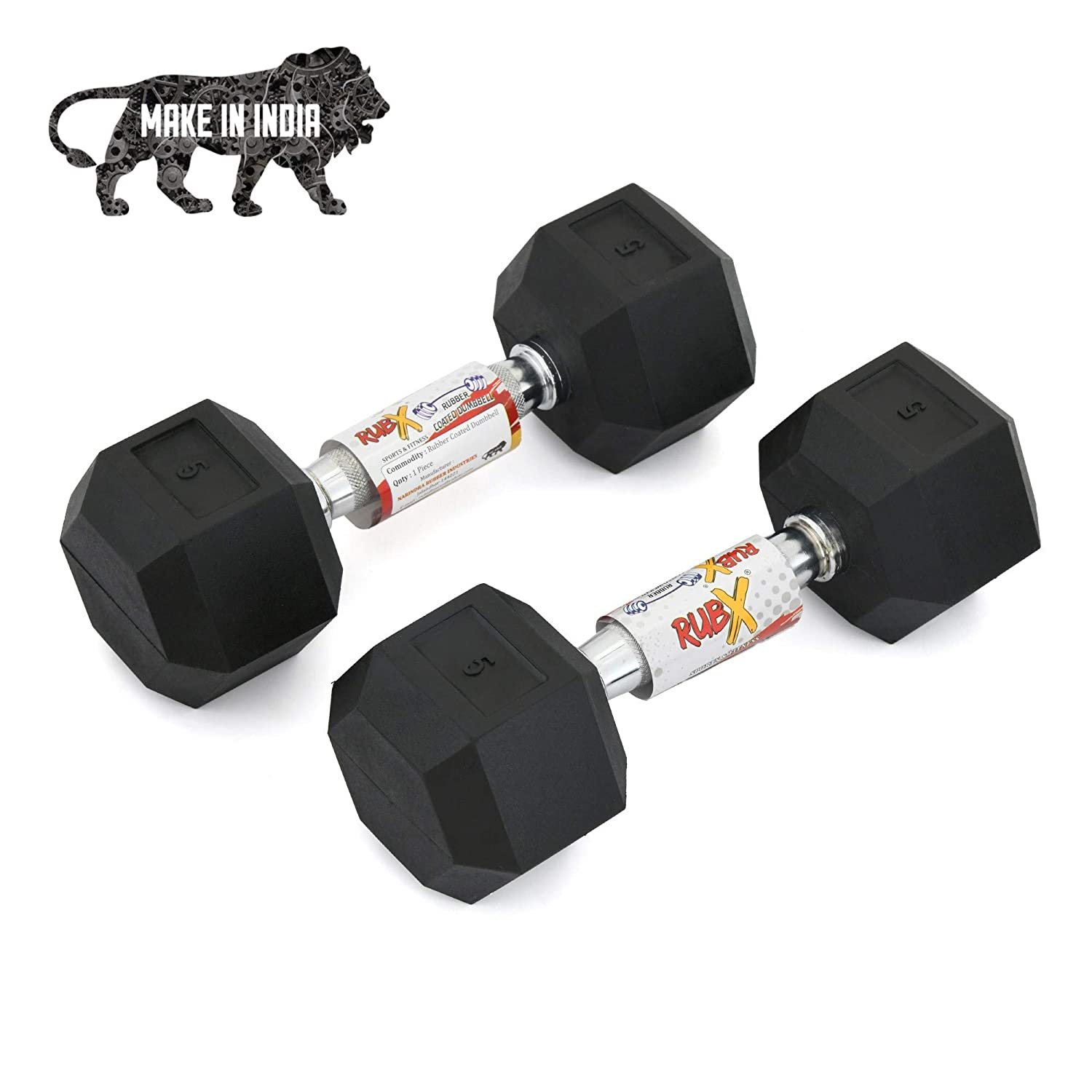 RUBX Rubber Coated Professional Exercise Hex Dumbbells (Pack of Two)