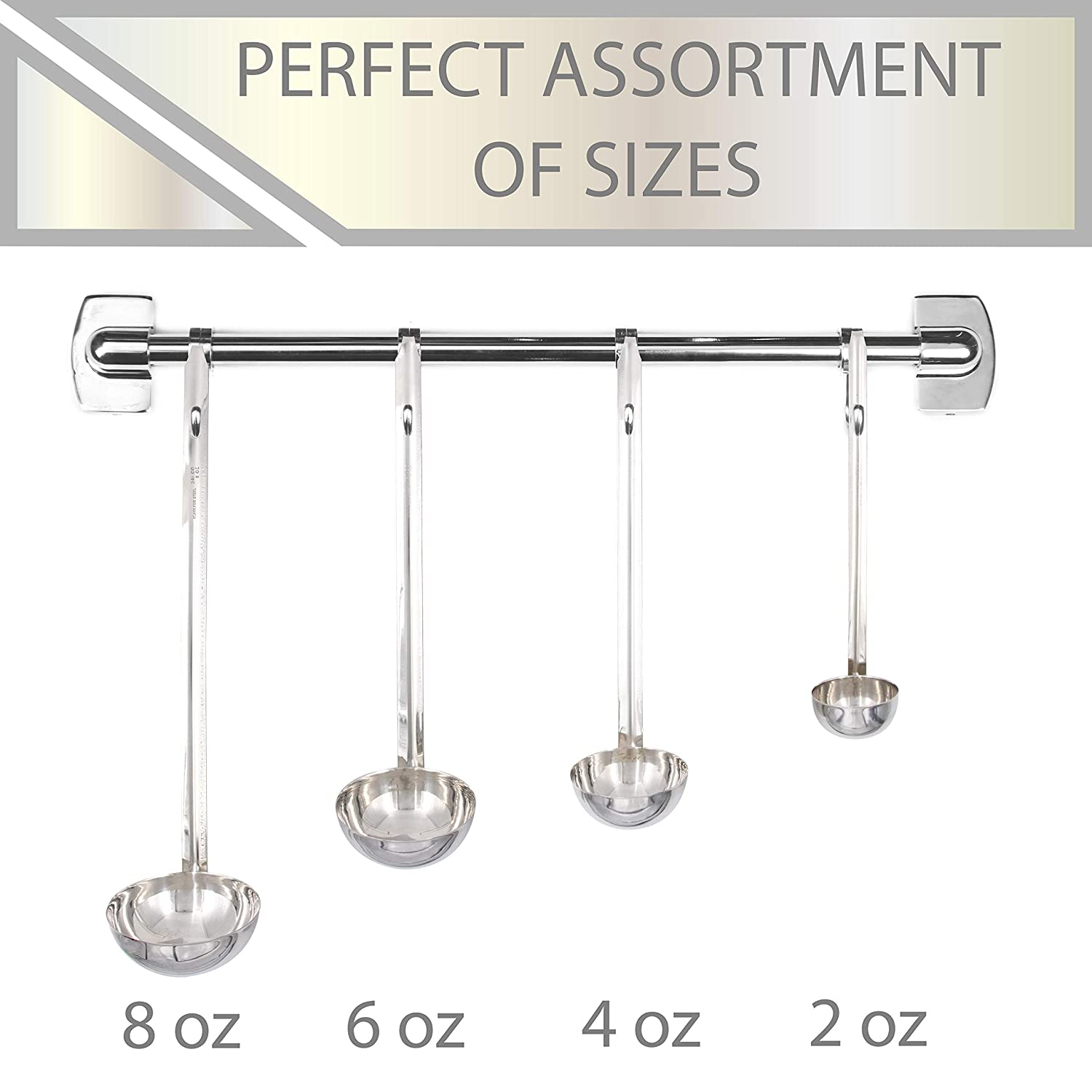 8 Ounce Set Mini Small Medium Large 4 Upper Midland Products Stainless Steel Ladles for Soup Sauce 2 6
