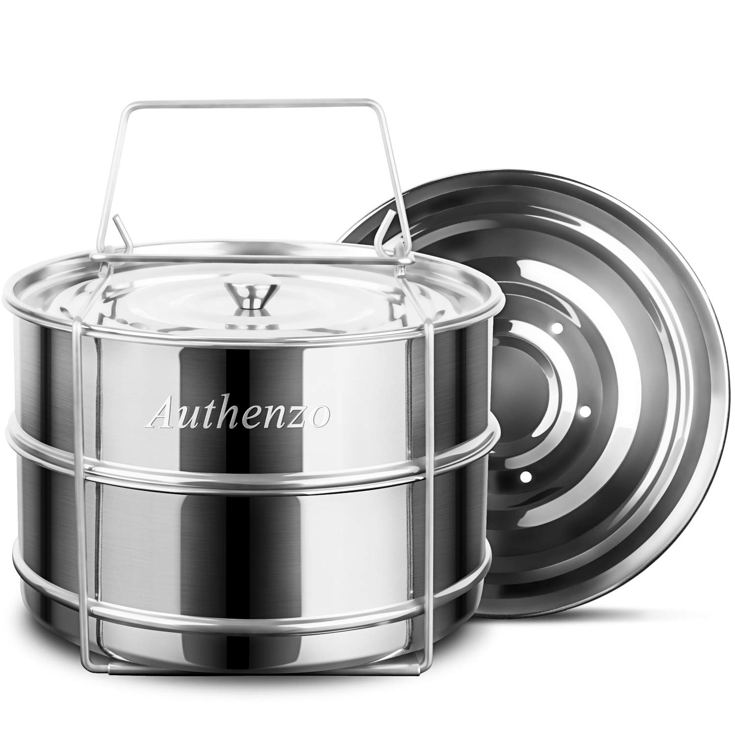 Authenzo Stackable Steamer Insert Pans (Two Layers) with Sling for Instant Pot Accessories Stainless Steel Food Pressure Cooker, Baking Upgraded Interchangeable Lids Included, 6/8 QT