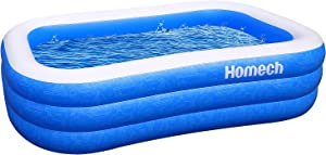 Homech Inflatable Swimming Pools, Inflatable Kiddie Pools, Family Swimming Pool, Swim Center for Kids, Adults, Babies, Toddlers, Outdoor, Garden, Backyard, 95 x 56 x 22 in