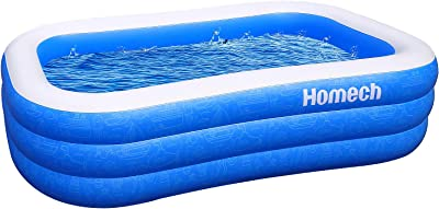 Homech Inflatable Swimming Pools, Inflatable Kiddie Pools, Family Lounge Pools, Family Swimming Pool for Kids, Adults, Babies, Toddlers, Outdoor, Garden, Backyard, 95 x 56 x 22 in, for Ages 3+