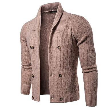 6ff0b677821 NiuZi Mens Slim Fit Cardigan Sweater Shawl Collar Front Double ...