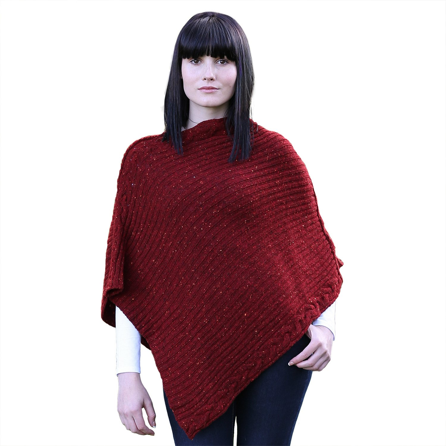 100% Irish Soft Donegal Merino Rib Cable Womens Poncho By Irelands Eye Knitwear