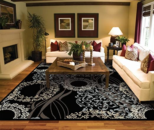 Amazon Com Large Rugs For Living Room 8x10 Black Area Rugs 8x10