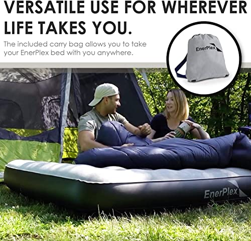 EnerPlex Never-Leak Camping Series Queen Camping Airbed with High Speed Pump Never Queen Size Air Mattress Single High Inflatable Blow Up Bed for Home