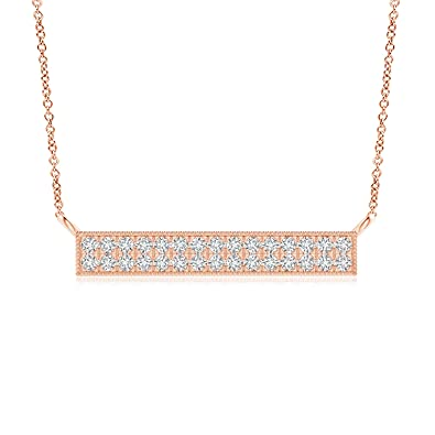 d316855aa941 Amazon.com  Double Row Lab Grown Diamond Bar Necklace in 14k Rose Gold   Jewelry
