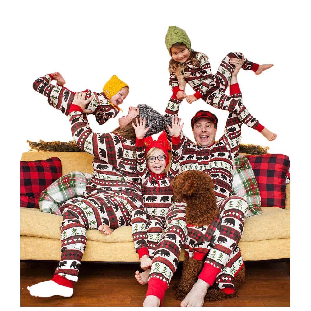Christmas Family Matching Pajamas Set Bear Christmas Tree Print Jumpsuit Pajama PJS Sets for Mom Dad Kid Baby