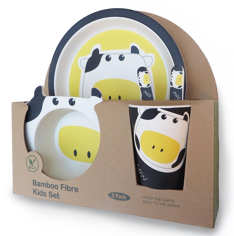 Buabi Bambus Baby /& Kids Geschirrset Tiermotiv Zebra sp/ülmaschinenfest BPA-freies umweltfreundliches Material
