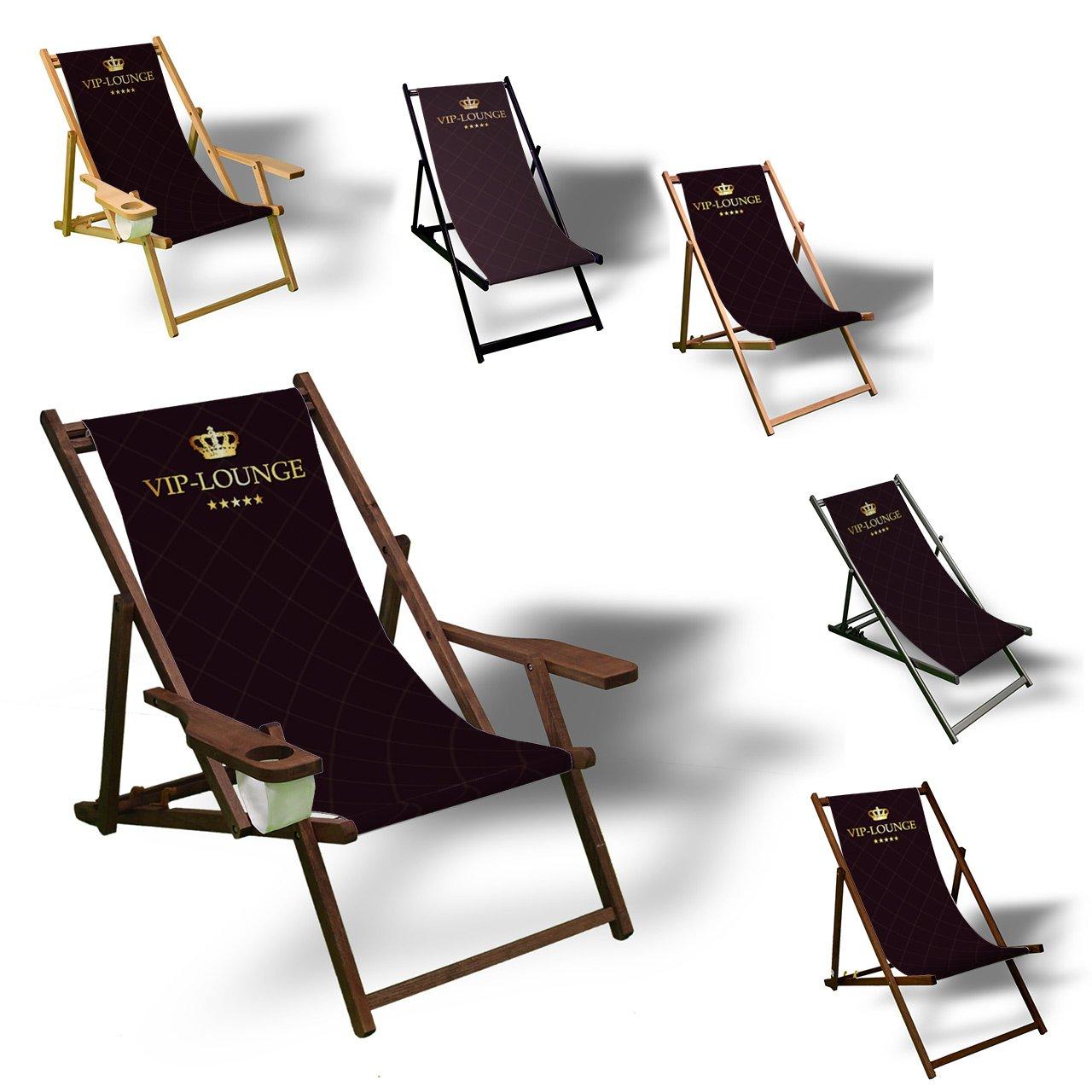 VIP - Liegestuhl bedruckt Balkon Garten Sonnenliege Relax Holz ...