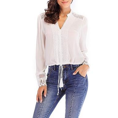 NALATI Femme Chemise Manche Longue Fluide Col V Blouse Creux Dentelle  Macramé T-Shirt Blanc 4422a0de741