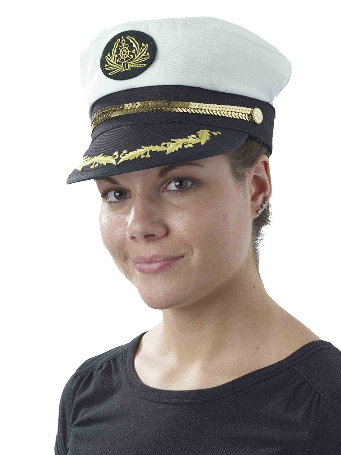 Forum Novelties Gold Rope Trimmed Captain's Hat, Gold/White