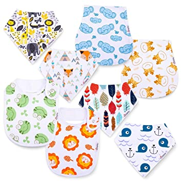 6PCS 100/% Natural Organic Cotton Baby Drool Bibs Super Water Absorption and Soft Saliva Towel for Teething and Drooling Boys /& Girls from 0-5 Years Old