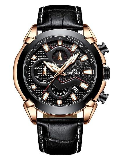 Relojes Hombre Reloj de Pulsera Militar Cronógrafo Impermeable Deportes Diseñador Negro Reloj Hombre de Cuero Luminosos Negocios Analógico: Amazon.es: ...