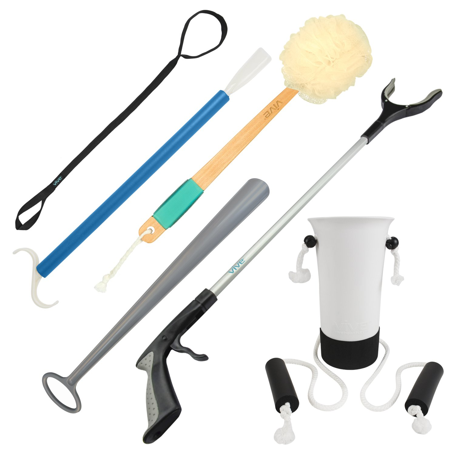 Hip And Knee Replacement Kit by Vive - 6 Piece Surgery Recovery Set - Handicap Aid Package, Leg Loop Lifter, Reacher Grabber, Long Handle Shoe Horn, Shower Loofah Scrubber, Sock Assist, Dressing Stick by VIVE
