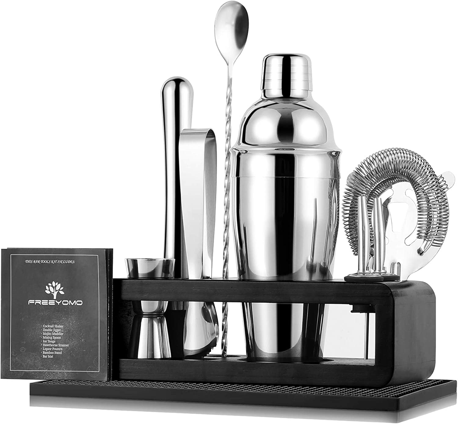 Bartender Kit with Stylish Bamboo Stand, 10 Piece Stainless Steel Bar Tools Cocktail Shaker Set, Premium Bar Mat, Martini Shaker Set, Perfect Bar Set for Home Bars, Parties and Drink Making