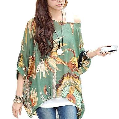 d4d7f4b5cd81f Camisetas y tops - Dizoe Blusas y Camisas Mujer Estampadas Flores Caftan  Playa Gasa Tallas Grandes  Amazon.es  Ropa y accesorios