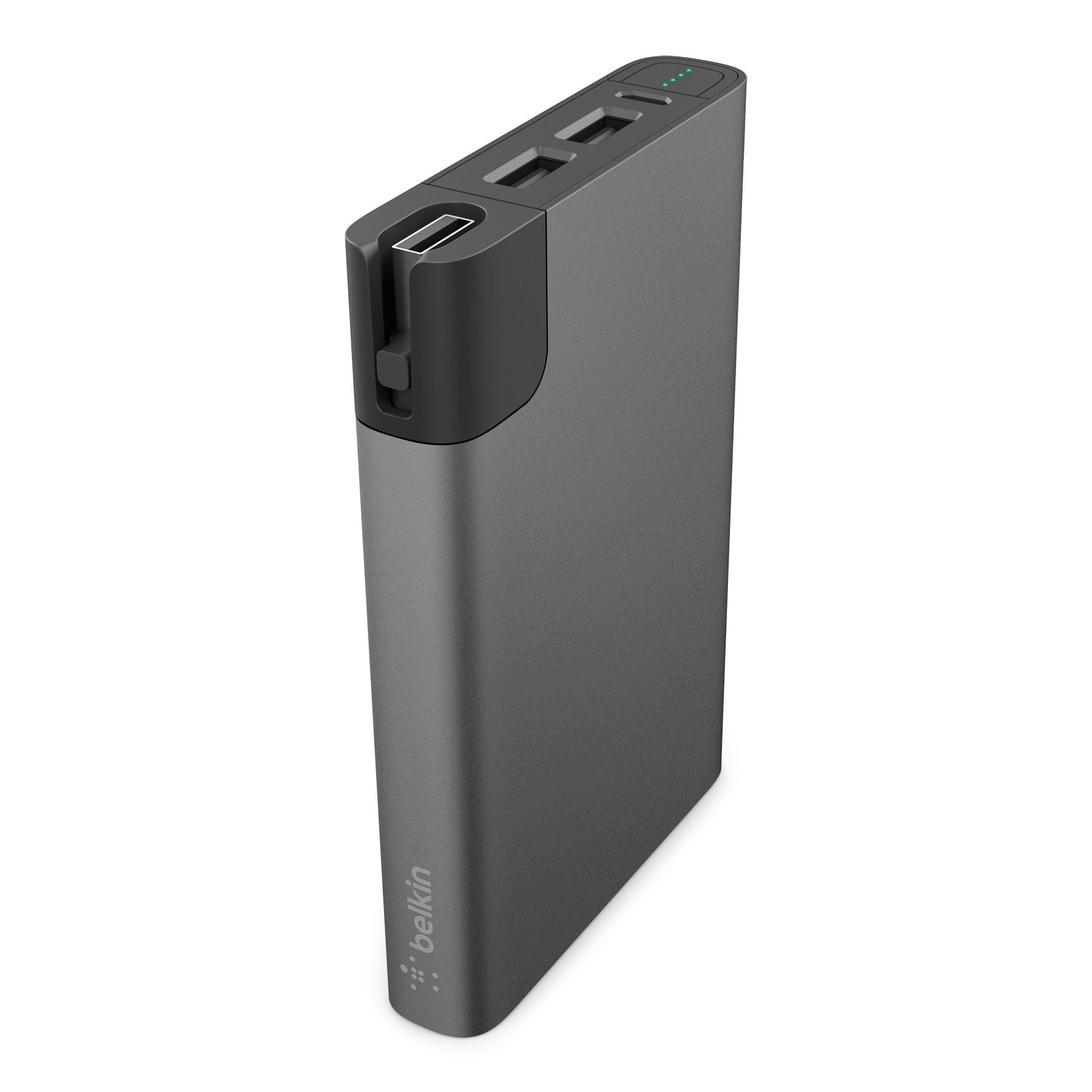 Belkin MFi Certified MIXIT Metallic 10000 mAh Power Rockstar Battery Pack with Dual USB Ports and Cable Storage (Gray)