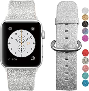 MIFFO Compatible with Apple Watch Band 38mm 40mm 42mm 44mm, Leather iWatch Strap Bling Glitter Bracelet Wristband for Apple Watch Series 5 Series 4 Series 3 Series 2 Series 1 Sport Edition