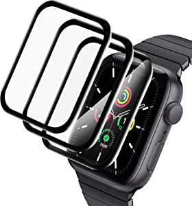 Ceomate 3Pack Screen Protector for Apple Watch Series 6/SE/5/4 44mm,Full Coverage Bubble-Free Anti-Scratch Anti-Fingerprint HD Clear Screen Protector Film Black for iWatch 44mm