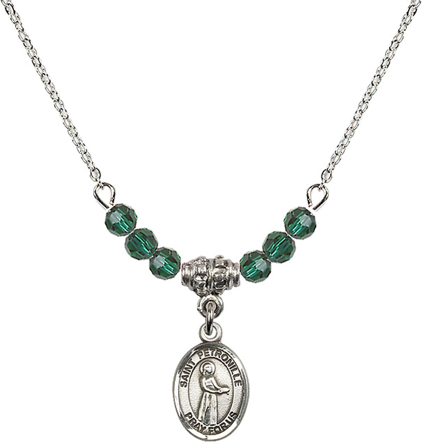 Bonyak Jewelry 18 Inch Rhodium Plated Necklace w// 4mm Green May Birth Month Stone Beads and Saint Petronille Charm