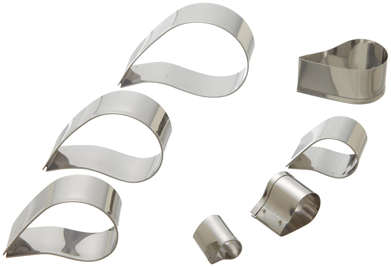 Ateco 5267 Plain Edge Comma Cutters in Graduated Sizes, Stainless Steel, 7 Pc Set