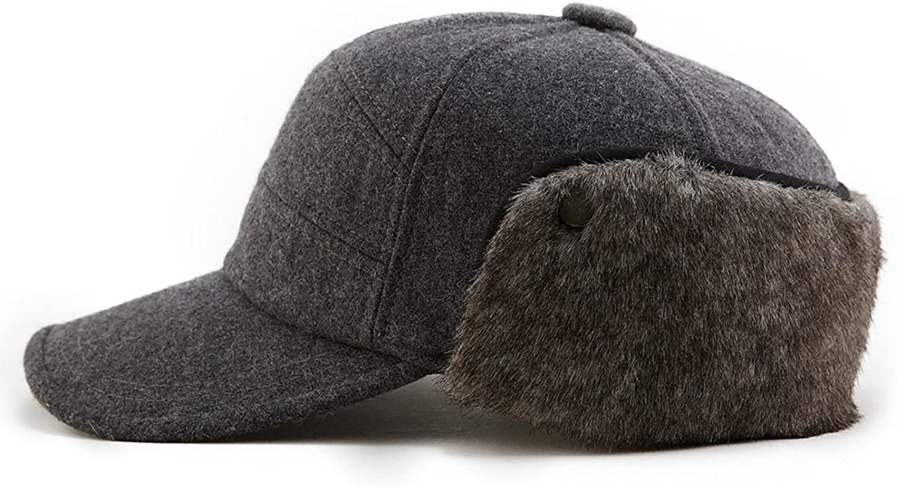 f20c0f6bacdeb Winter Wool Baseball Cap Earflap Hats Men Soft Faux Fur Hunting Hat Siggi