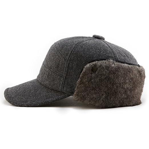 SIGGI Mens Winter Wool Baseball Cap Earflap Hat Faux Fur Ear Flap Hat  Fitted Hat Trapper b84bf3846e72