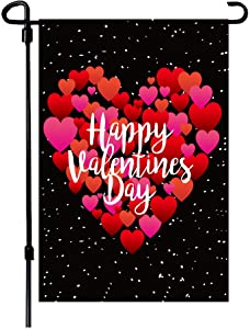 BOUTIQUE_GOODS Valentine's Day Flag,12.5x18 Inch Valentine's Heart Garden Flag Double Sided Printing 2 Layer Burlap Valentine Flags for Your Valentine's Day Decoration