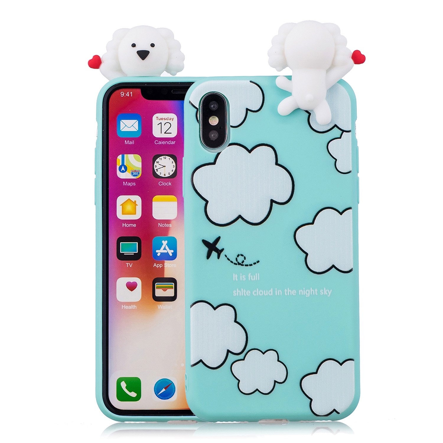 Yobby 3D Animal Dessin Animé Coque iPhone XS Max, Coque iPhone XS Max Ultra Fine Mignonne Kawaii Motif Étui Slim Doux Flexible Souple Caoutchouc Silicone Antichoc Housse Protection-Panda Blanc