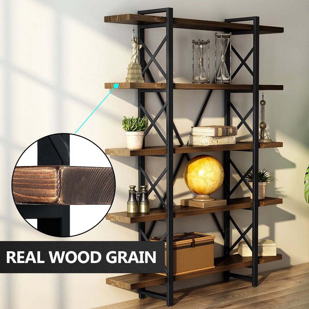LITTLE TREE Solid Wood 5 Shelf Industrial Rustic Style Bookcase and Book Shelves, Metal and Wood Free Vintage Standing Storage Shelf Units , Antique Nutmeg