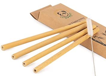 Juego de 15 pajitas de bambú reutilizables con cepillo para ...