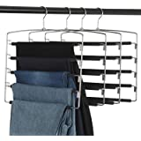 Clothes Pants Slack Hangers 5 Layers Non Slip Closet Storage Organizer Space Saving Hanger with Foam Padded Swing Arm…