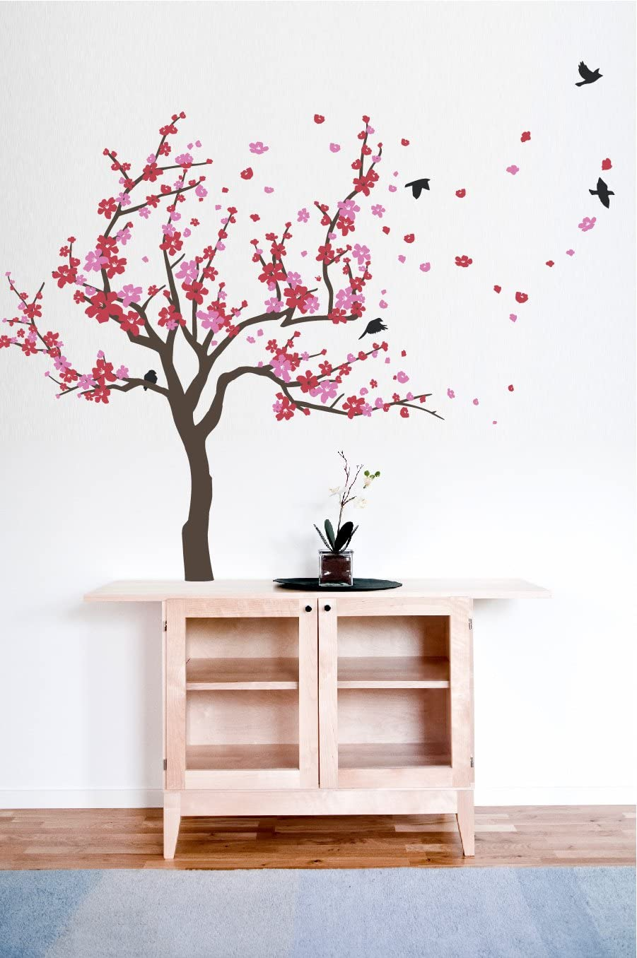 Japanese Cherry Blossom Tree And Birds Wall Decal Sticker For Flower Baby Nursery Room Decor Art Red Pink 38x59 Inches Home Kitchen
