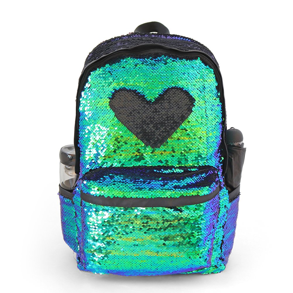 Glitter Magic Reversible Sequin Backpack,Sparkly Lightweight Back Pack Casual Daypack for Women Girls and Boys (Mermaid/Black, 17''(H)12¼''(L)4¾''(W)