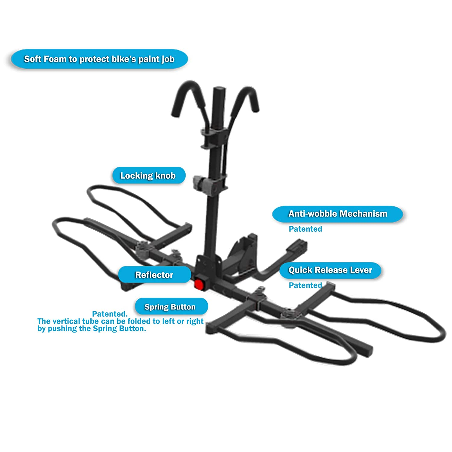 Overdrive Sport 2-Bike Hitch Mounted Rack Smart Tilting Fat Tire Electric Bikes Platform Style Standard