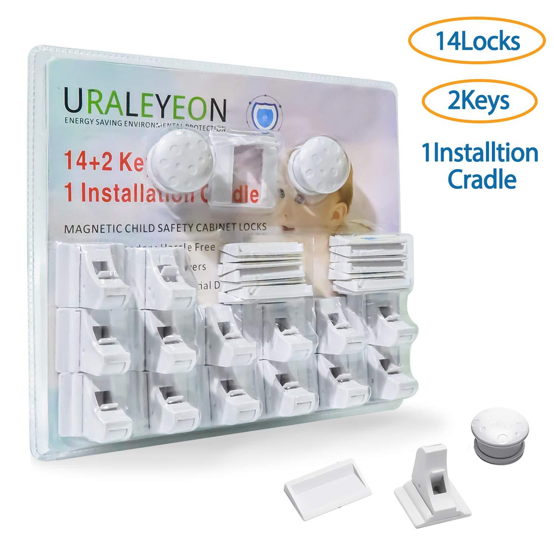 Uraleyeon Cabinet Locks Child Safety, 14 Baby Proofing Cabinet Locks + 2 Keys + 1 Installation Cradle, Strong Magnetic Baby Safety Cabinet Locks, No Drill Needed, Hassle-Free